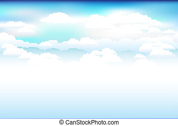 藍色, 云霧, 矢量, 天空