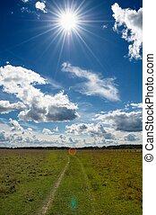 藍色, 云霧, 農村, 太陽, 天空領域, 綠色, 在下面, 草, 正午