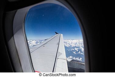藍色, 云霧, 飛行, 噴气式飛机, 天空, 窗口, 空中, 看法