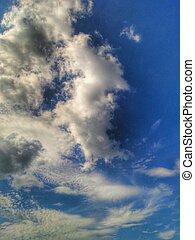藍色, 云霧, sky.