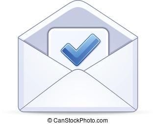 藍色, 信封, 打開, 檢查, 馬克