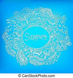 藍色, 做, 心不在焉地亂寫亂畫, 框架, 裝飾品, 形狀, 輪, 背景。, 明亮, freehand, summer., 摘要
