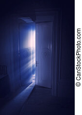 藍色, 光的光線, 後面, the, 門
