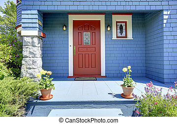 藍色, 入口, 門廊, 由于, 紅色, door.