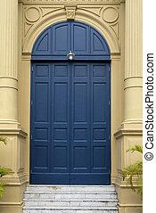 藍色, 入口, 門, 前面, 居住, 房子