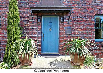 藍色, 前門, ......的, the, 老, 磚房子