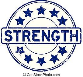 藍色, 力量, 詞, 郵票, 橡膠, 背景, 封印, grunge, 星, 白色, 輪, 圖象