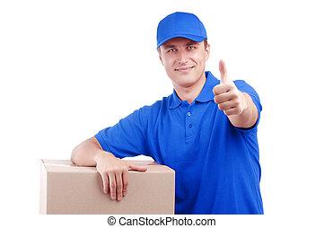 藍色, 包裹, 被隔离, 制服, 交付, 白色, 人
