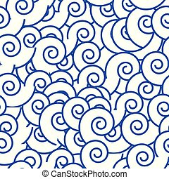 藍色, 圈子, 圖案, 摘要, seamless, 矢量