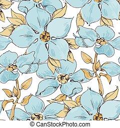 藍色, 圖案, 花, seamless