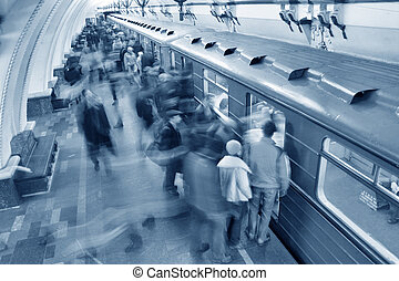 藍色, 地鐵, 人群