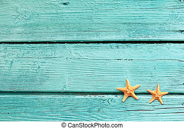藍色, 夏天, 背景, starfish, 木制, -, 海