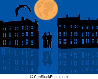 藍色, 夜晚, 夫婦, 城市