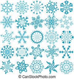藍色, 大, 雪花, (vector), 彙整
