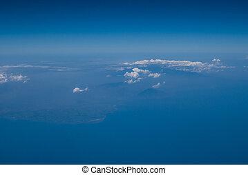 藍色, 天空, 飛機, 云霧