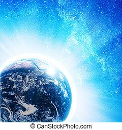 藍色, 太陽, 上升, 地球, 空間