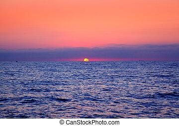 藍色, 太陽, 日出, 海, 地平線