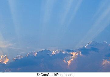 藍色, 太陽, 美麗, 云霧, 天空