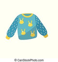 藍色, 套間, 很少, 學步的小孩, 鮮艷, girl., concept., fashion., bunnies, 矢量, 毛線衫, 項目, 孩子, 設計, 衣服, 嬰孩, clothing., 孩子, 關心, print.