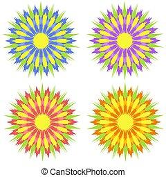藍色, 套間, 集合, 上色, 紫色, 簡單, 摘要, 被隔离, 裝飾, 背景。, 黃色, 設計, 懷特花, 紅色