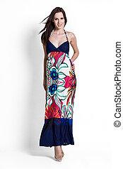 藍色, 婦女, 裙子,  beautifull
