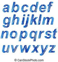 藍色, 字母表, 被隔离
