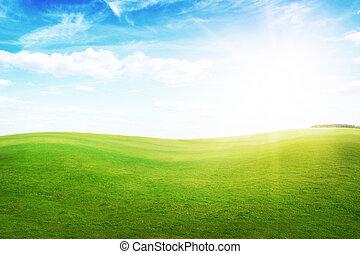 藍色, 小山, sky., 太陽, 綠色, 在下面, 草, 正午
