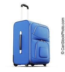 藍色, 小提箱, 被隔离, 在懷特上, 背景。, 3d, render, 圖像