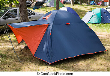 藍色, 帳篷, 由于, 紅色, 入口