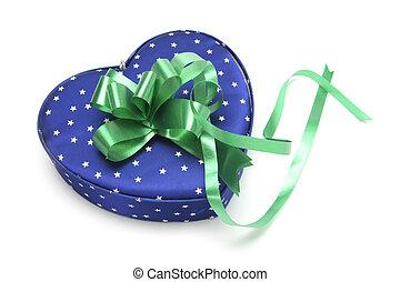 藍色, 心形, 禮物盒