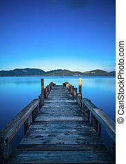 藍色, 或者, italy, 反映, 木制, 天空, 防波堤, tuscany, versilia, 傍晚, water., 碼頭, 湖