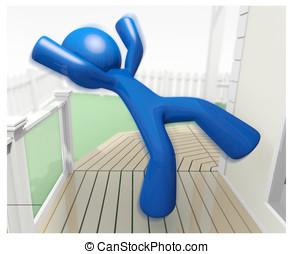 藍色, 插圖, 下來, 人, 落下, 傷害, 3d