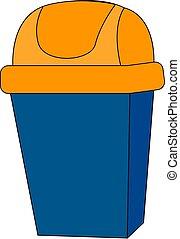 藍色, 插圖, 罐頭, 矢量, 背景, 白色, 垃圾