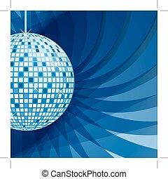 藍色, 摘要, 球, 背景, 迪斯科