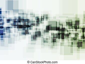 藍色, 摘要, 綠色的背景, 正方形, 技術
