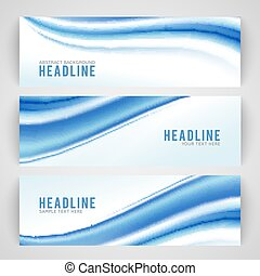 藍色, 摘要, 被隔离, 波浪, 背景, 白色