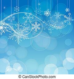 藍色, 摘要, bokeh, 雪花, 背景