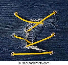 藍色 斜紋布, 由于, 洞, 以及, 十字形, 繫牢