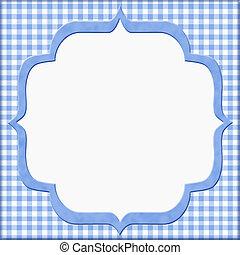 藍色, 方格花布, 框架, 你, 邀請, 嬰孩, 消息, 或者