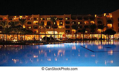 藍色, 旅館, 假期, 水, 夜晚水塘, 游泳