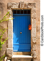 藍色, 普羅旺斯, 房子, 入口, 門
