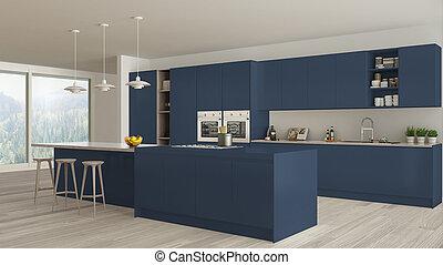 藍色, 木制, 斯堪的納維亞人, 細節, 設計,  Minimalistic, 內部, 白色, 廚房