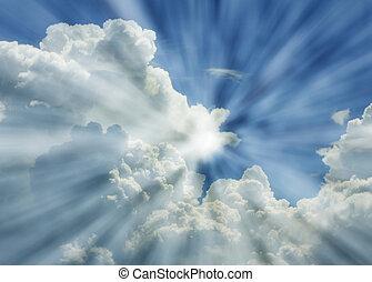藍色, 梁, 戲劇性的天空, 太陽