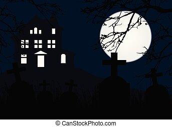 藍色, 樹, 充分, 分支, 墓地, 墓碑, 房子, 恐怖, -, 万圣節, 死, 月亮, 縈繞心頭, 小山, 上面, 邀請, 黨, 天空
