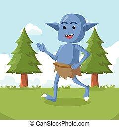 藍色, 步行, 怪物, 森林