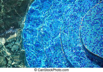 藍色, 步驟, 在, 水
