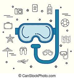藍色, 水下通气管, 設計