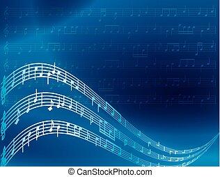藍色, 注釋, -, 矢量, 音樂, 背景, 摘要