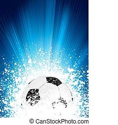 藍色, 海報, 足球, eps, burst., 光, 8