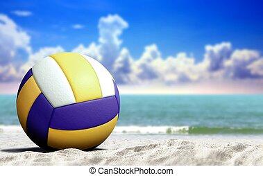藍色, 海灘, 天空, 多雲, 排球, 海, 打開